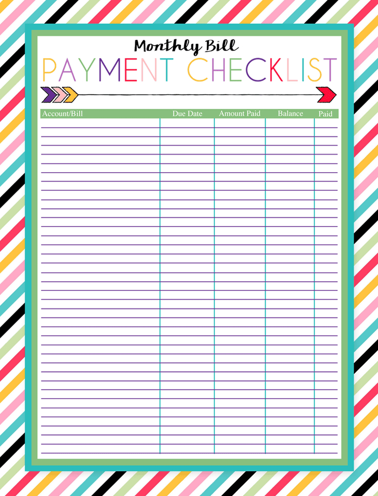 Bill Chart Printable Template Business PSD Excel Word PDF