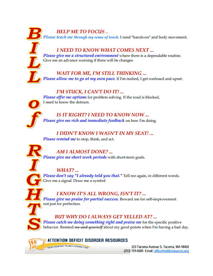 Bill Of Rights For Children With ADHD Printable No