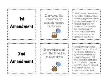 Bill Of Rights Matching Game 3rd 5th Grade By JB