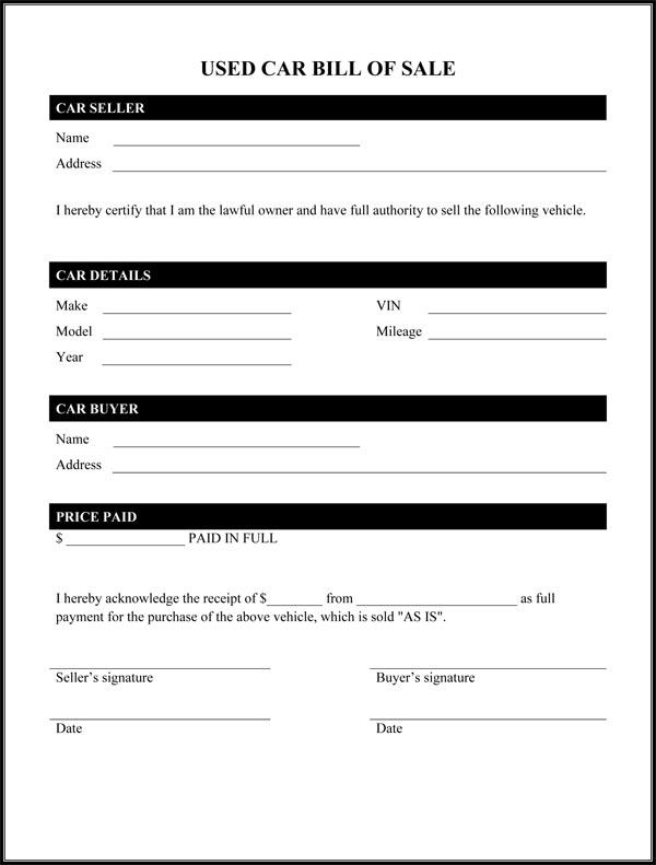Bill Of Sale For A Car Free Printable Documents