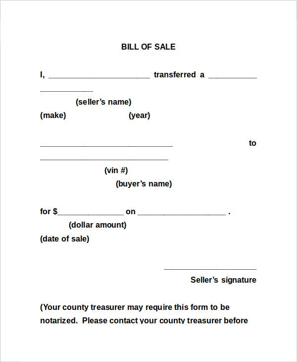 Bill Of Sale Form 18 Free Word PDF Documents Download