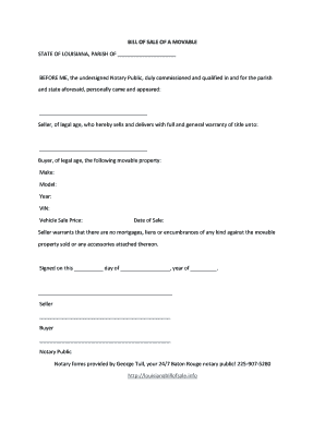Bill Of Sale Form Louisiana Fill Online Printable