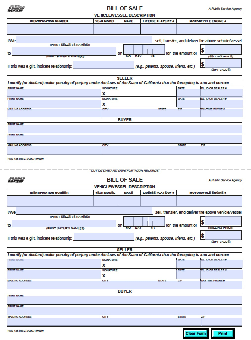 California Vehicle Bill Of Sale For 2021 Printable And