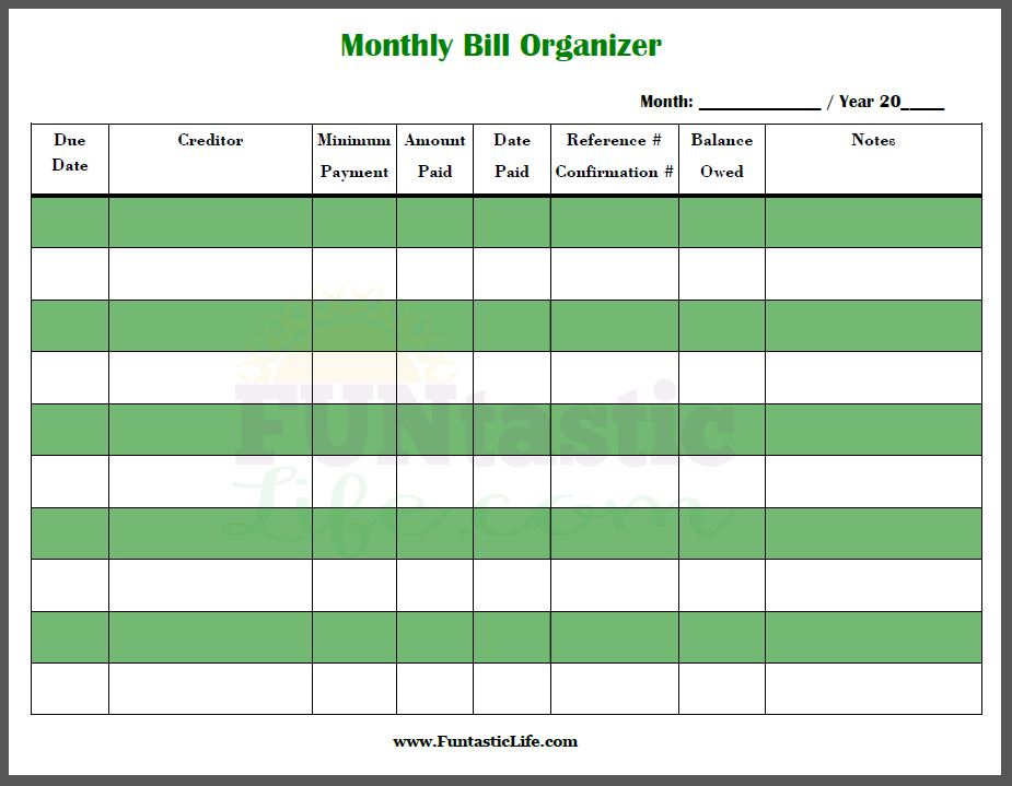 Create A Printable Monthly Bill Organizer Room Surf
