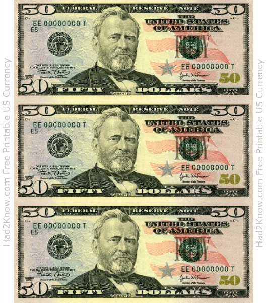 Fifty Dollar Bill Template Front Download Printable PDF