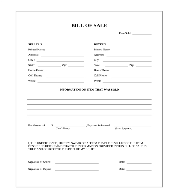 FREE 12 Sample Blank Bill Of Sale Forms In PDF Word Excel