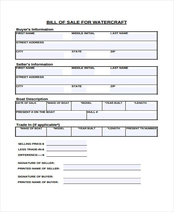 FREE 32 Bill Of Sale Forms In PDF MS Word