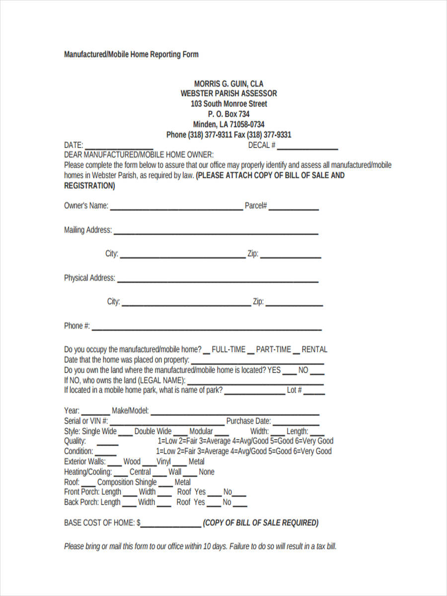 FREE 5 Mobile Home Bill Of Sale Samples In PDF