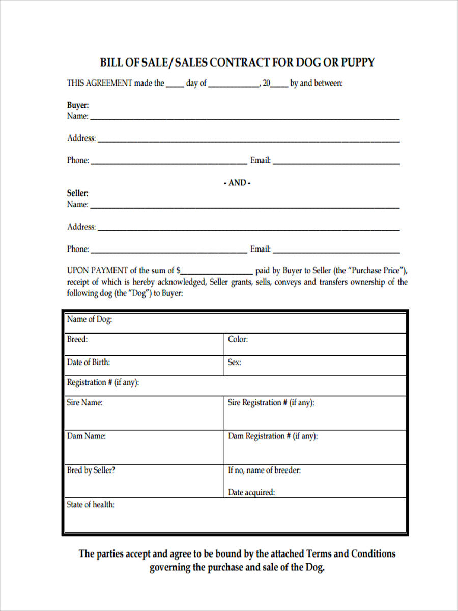 FREE 5 Sample Dog Bill Of Sale Forms In PDF