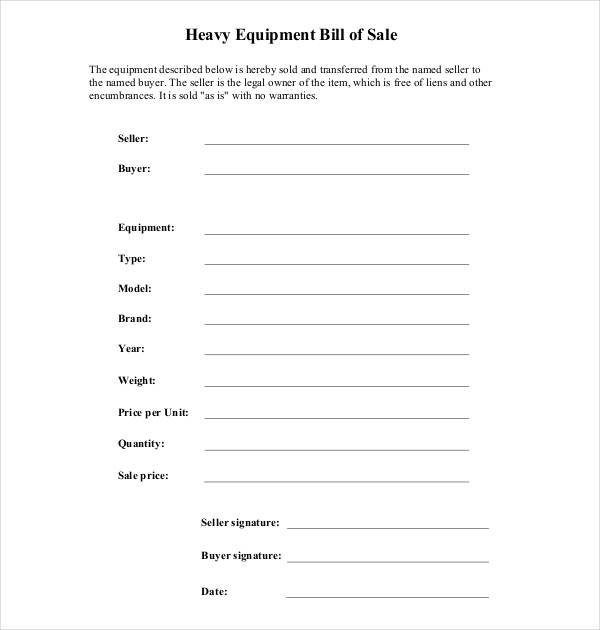 FREE 8 Sample Equipment Bill Of Sale Forms In PDF Word