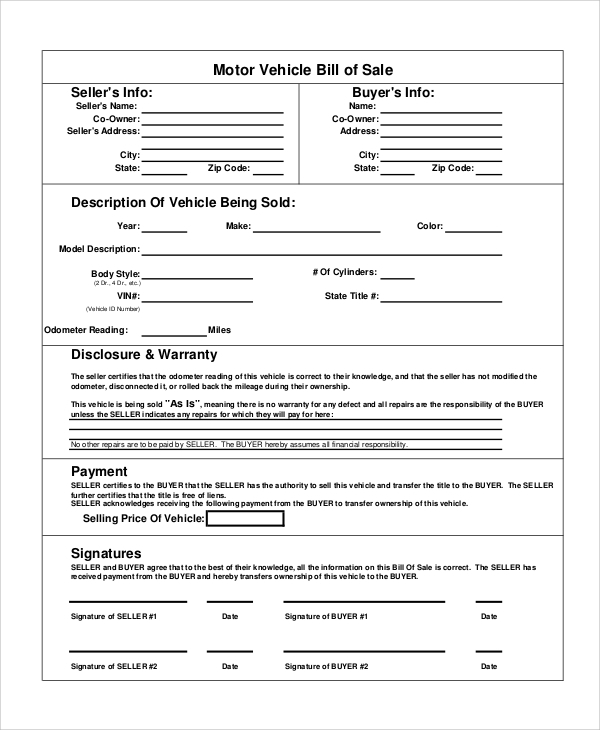 FREE 8 Sample Motorcycle Bill Of Sale Templates In PDF