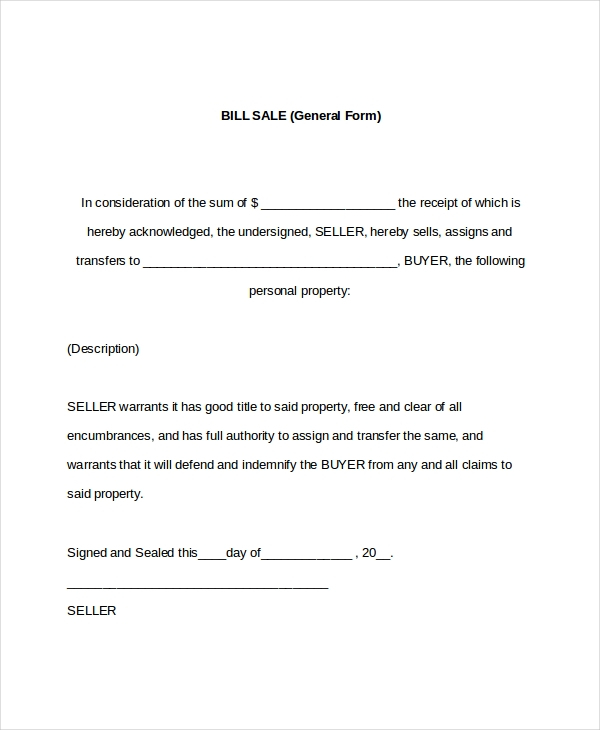 FREE 9 Sample General Bill Of Sale Forms In PDF Word