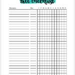 Free Bill Payment Checklist Printable Tracker