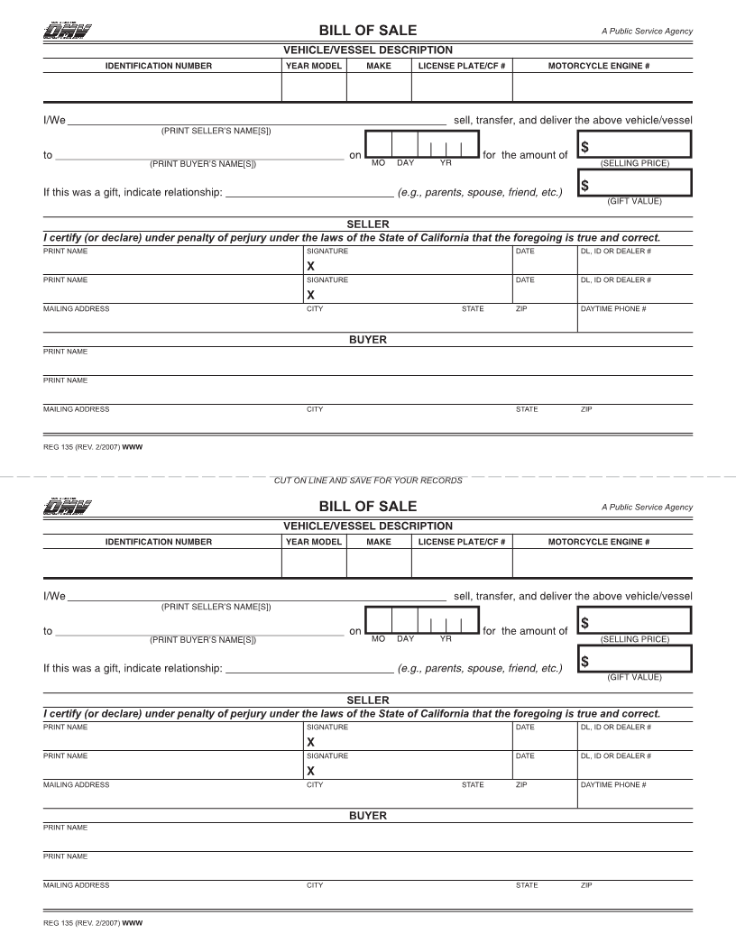 Free California Vehicle Bill Of Sale Form Download PDF