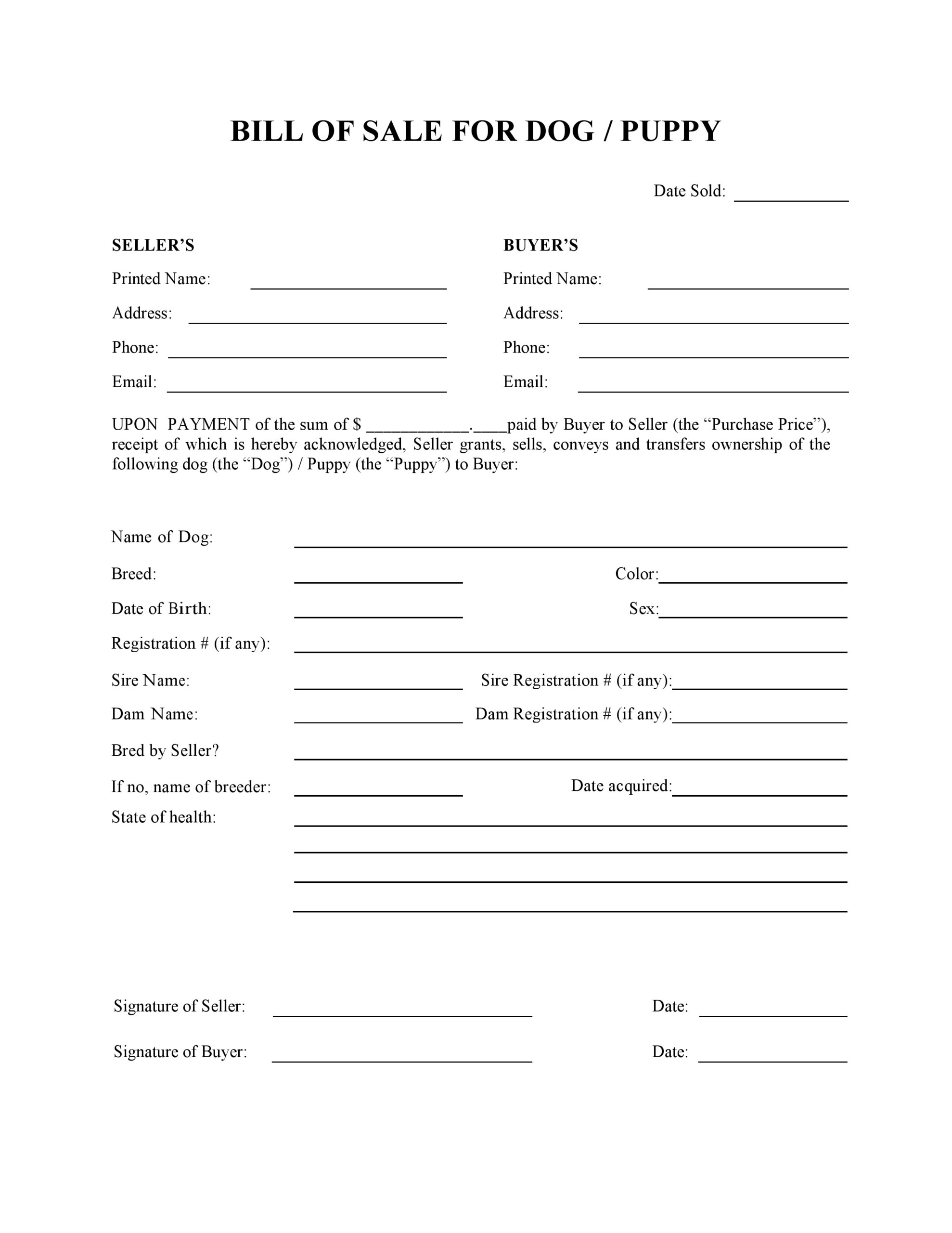 Free Dog Or Puppy Bill Of Sale Form PDF DOCX