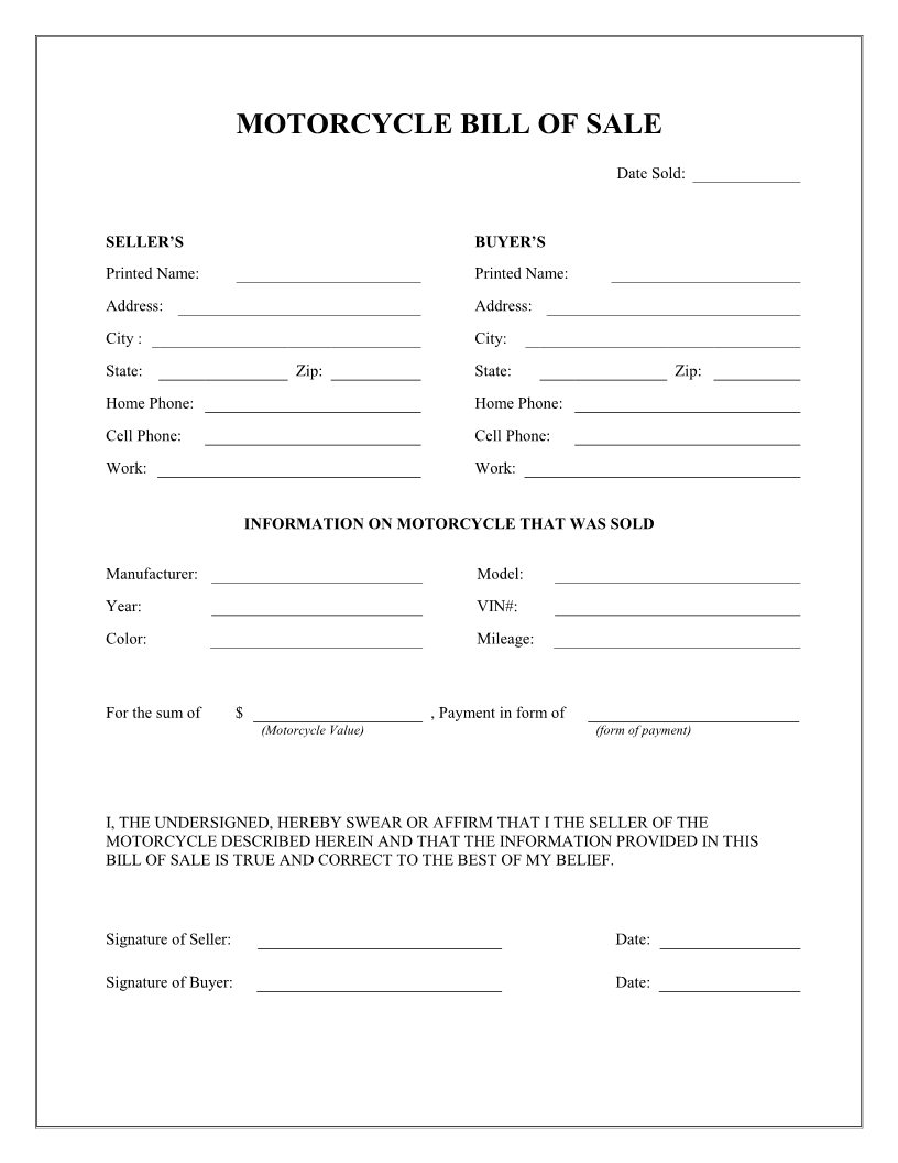 Free Motorcycle Bill Of Sale Form Download PDF Word