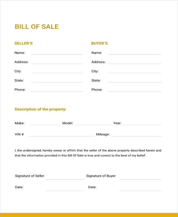 Free Printable Bill Of Sale Forms Template Business PSD