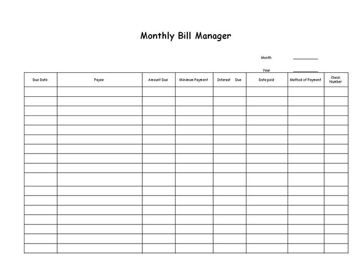 Free Printable Bill Payment List WOW Image Results