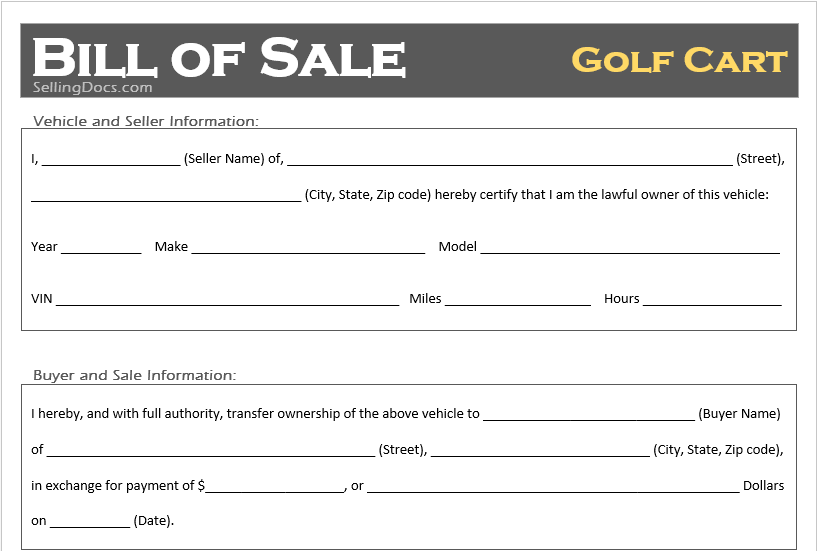 Free Printable Golf Cart Bill Of Sale Template Selling Docs