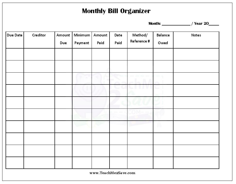 Free Printable Monthly Bill Organizer Sheets Room Surf