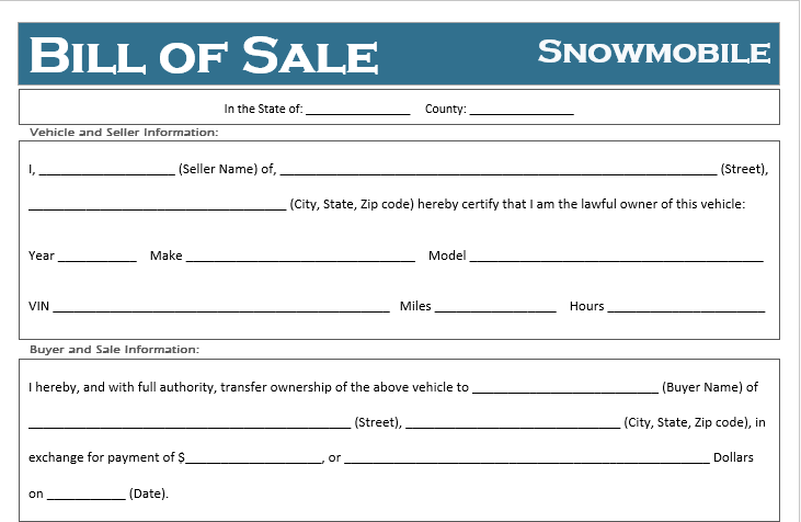 Free Printable Snowmobile Bill Of Sale For All States