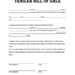 Free Printable Trailer Bill Of Sale All States Off