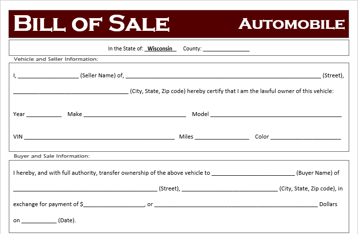 Free Wisconsin Car Bill Of Sale Template Off Road Freedom