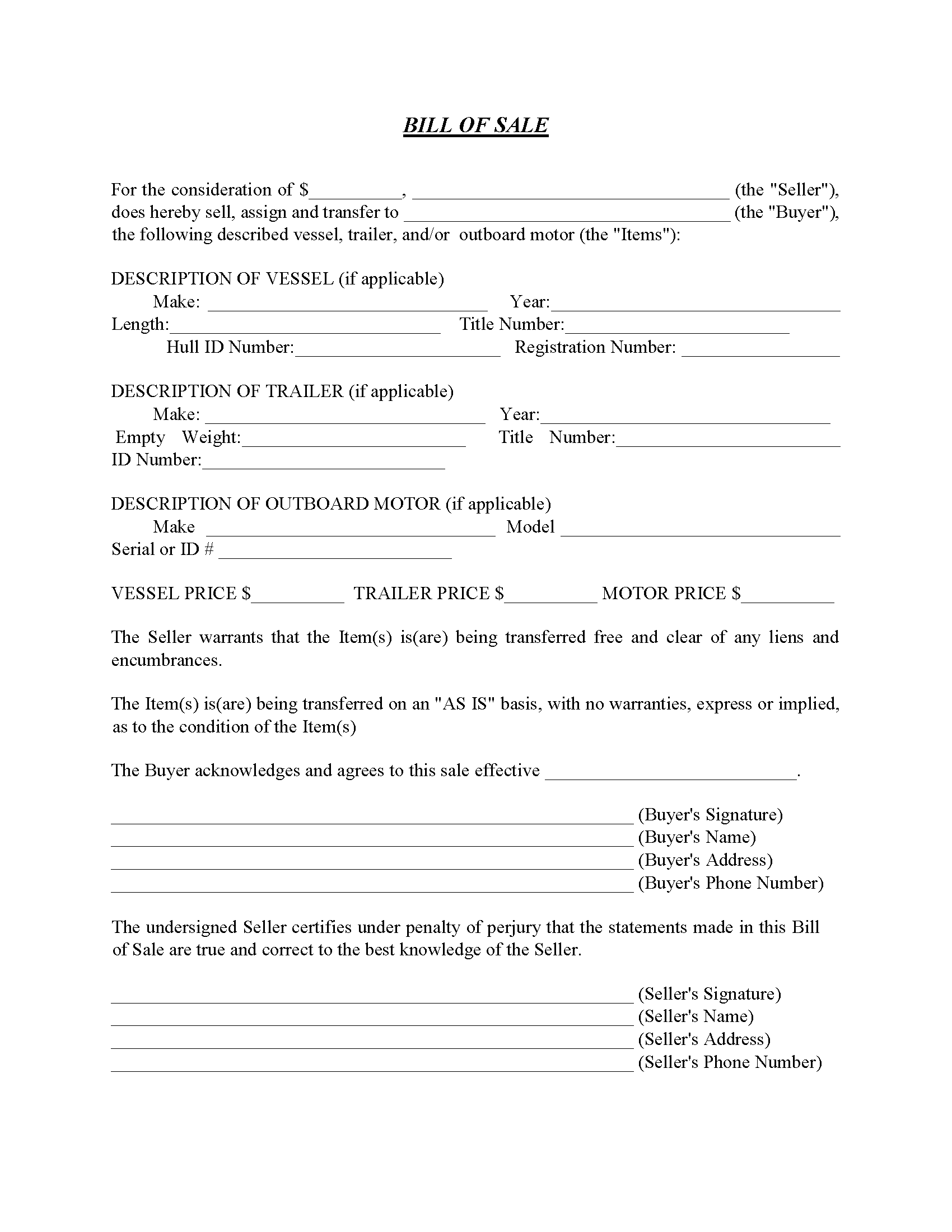 Georgia Boat Bill Of Sale Free Printable Legal Forms