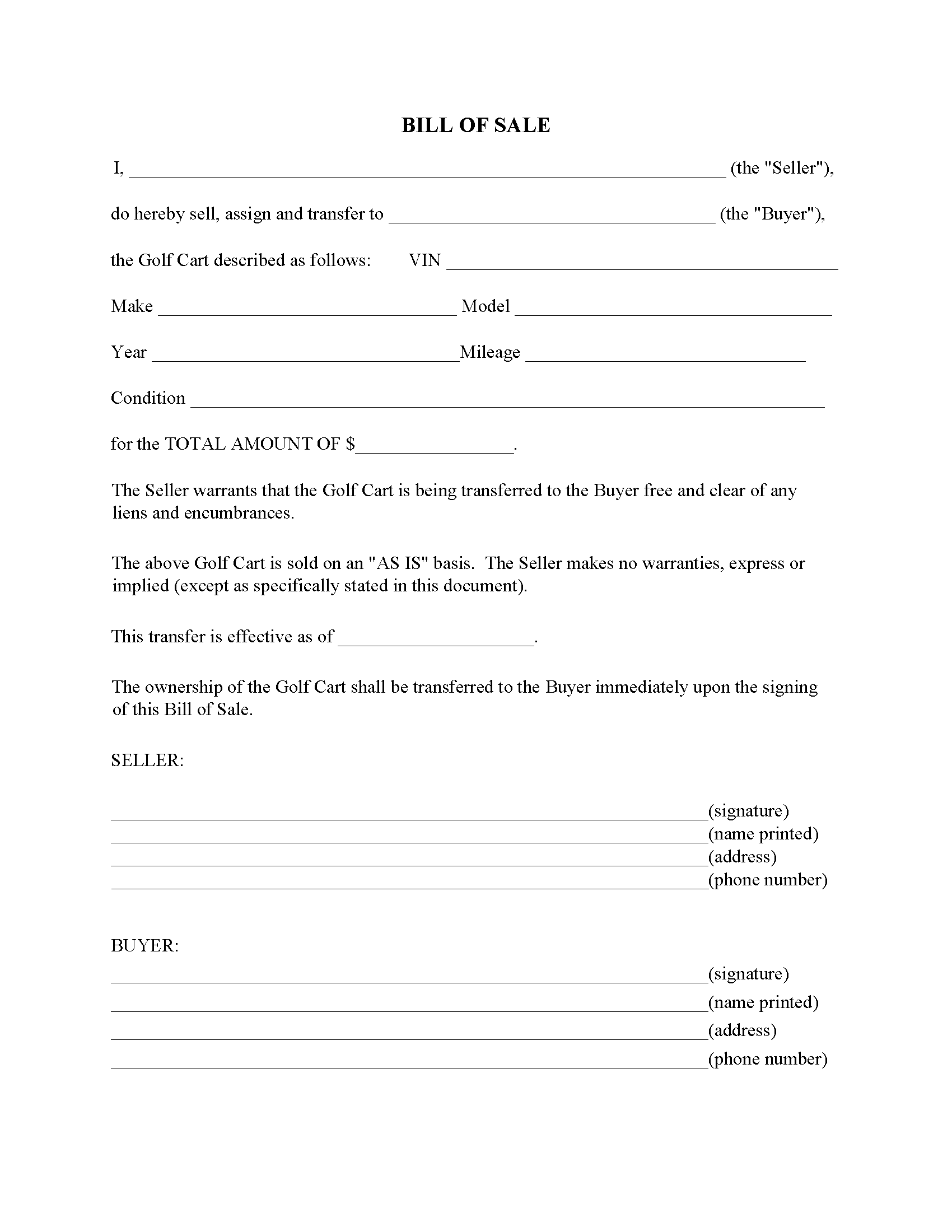 Golf Cart Bill Of Sale Form Free Printable Legal Forms