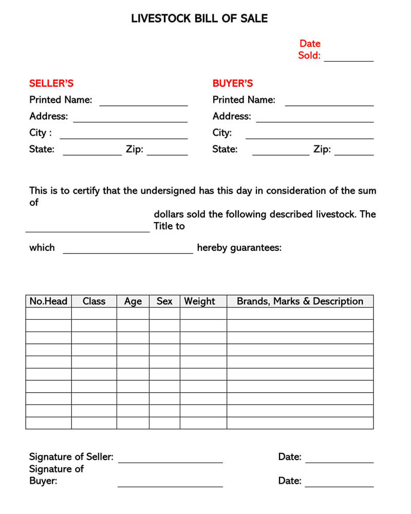 Livestock Bill Of Sale Form Free Forms Templates
