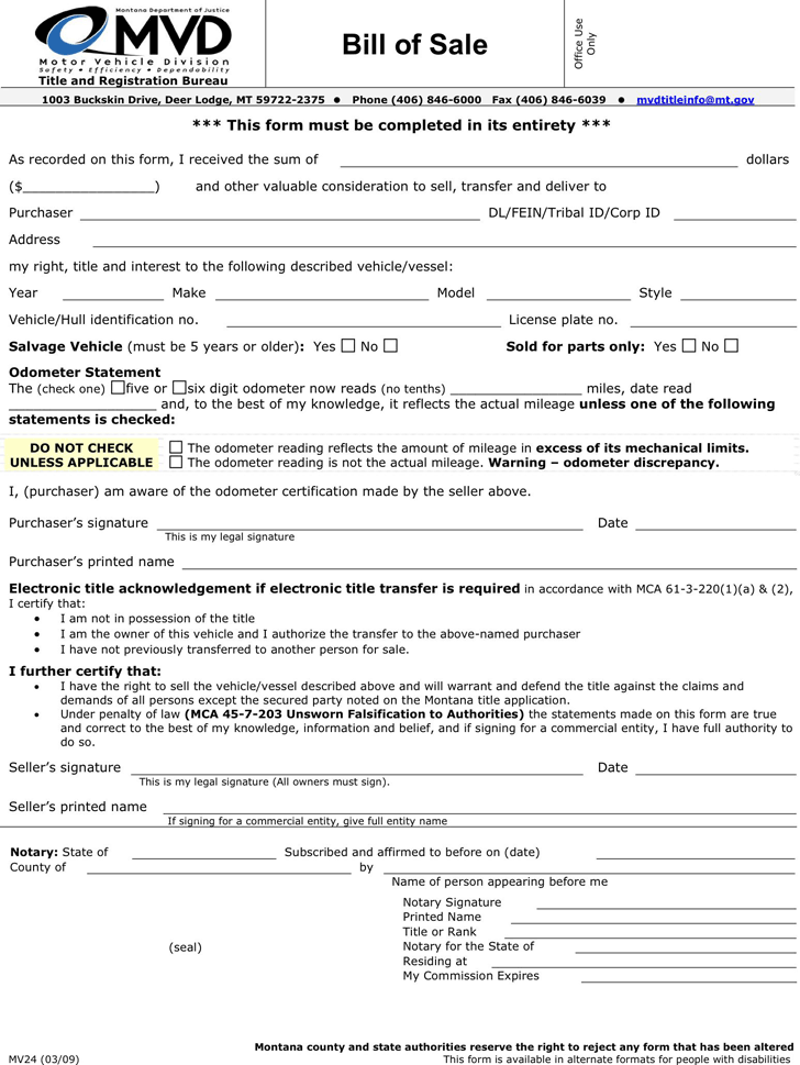Montana Motor Vehicle Bill Of Sale Form Download The Free