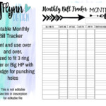 Monthly Bill Tracker PDF Printable Instant Download