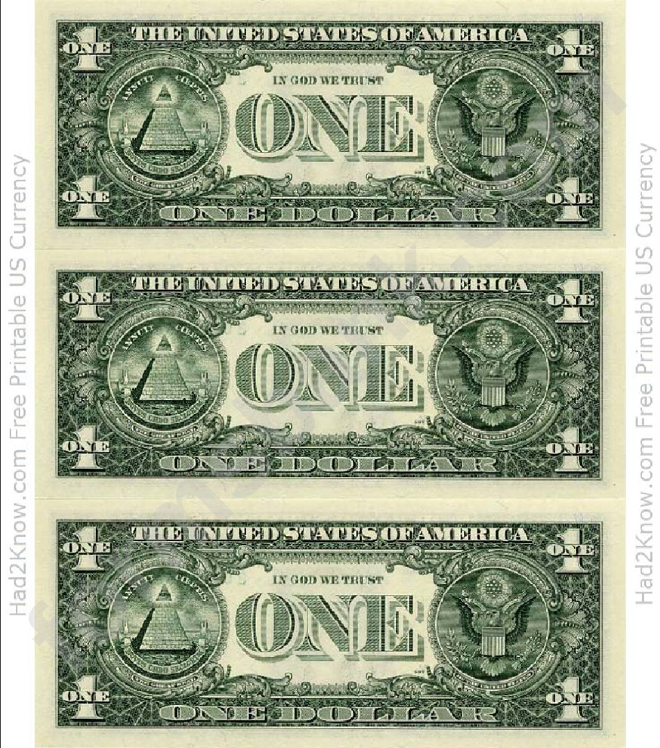 One Dollar Bill Template Back Printable Pdf Download