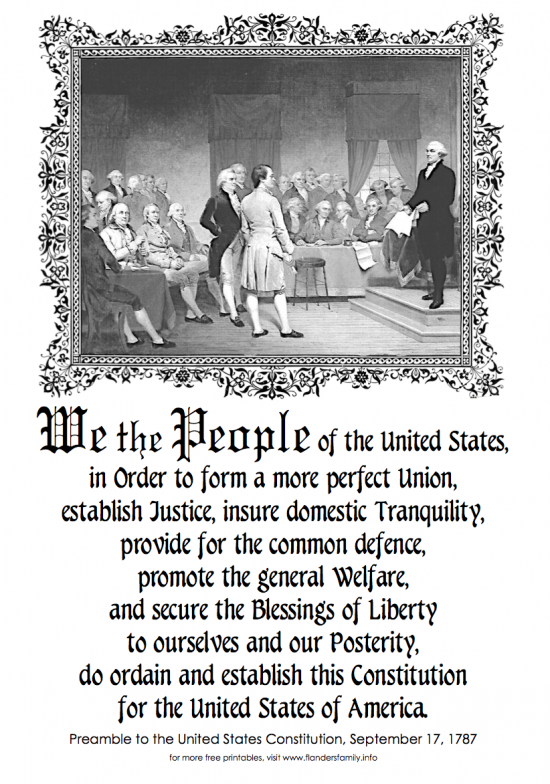 Preamble To The Constitution Of The United States Of
