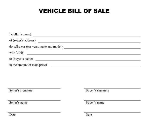 Printable Bill Of Sale Templates Print Paper Templates