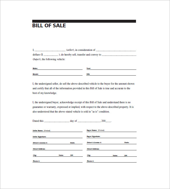 Printable General Bill Of Sale Template Business