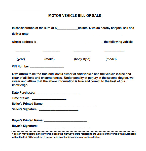 Vehicle Bill Of Sale Template 14 Download Free