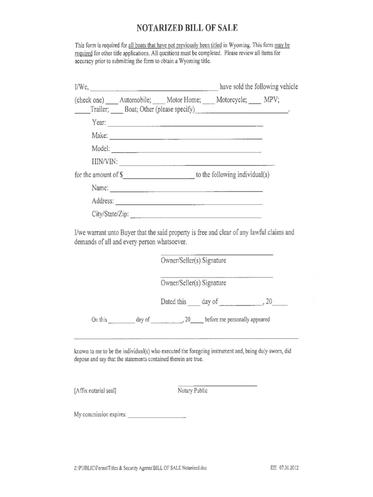 Wyoming Bill Of Sale Form Free Templates In PDF Word