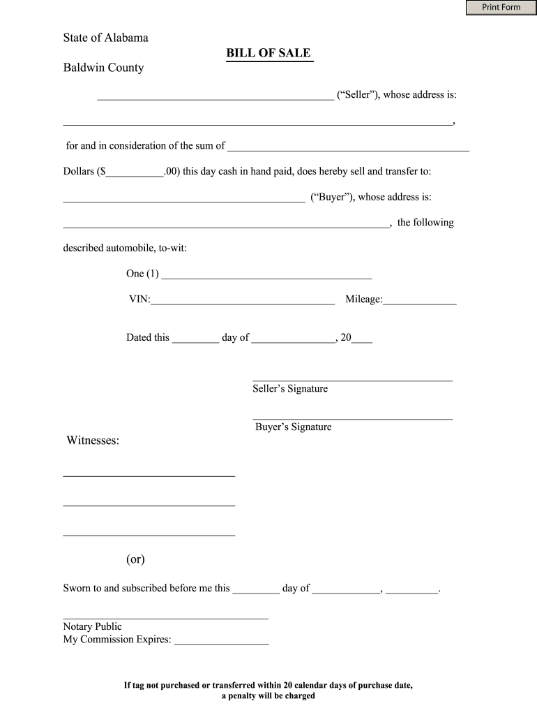 Alabama Bill Of Sale Fill Out And Sign Printable PDF