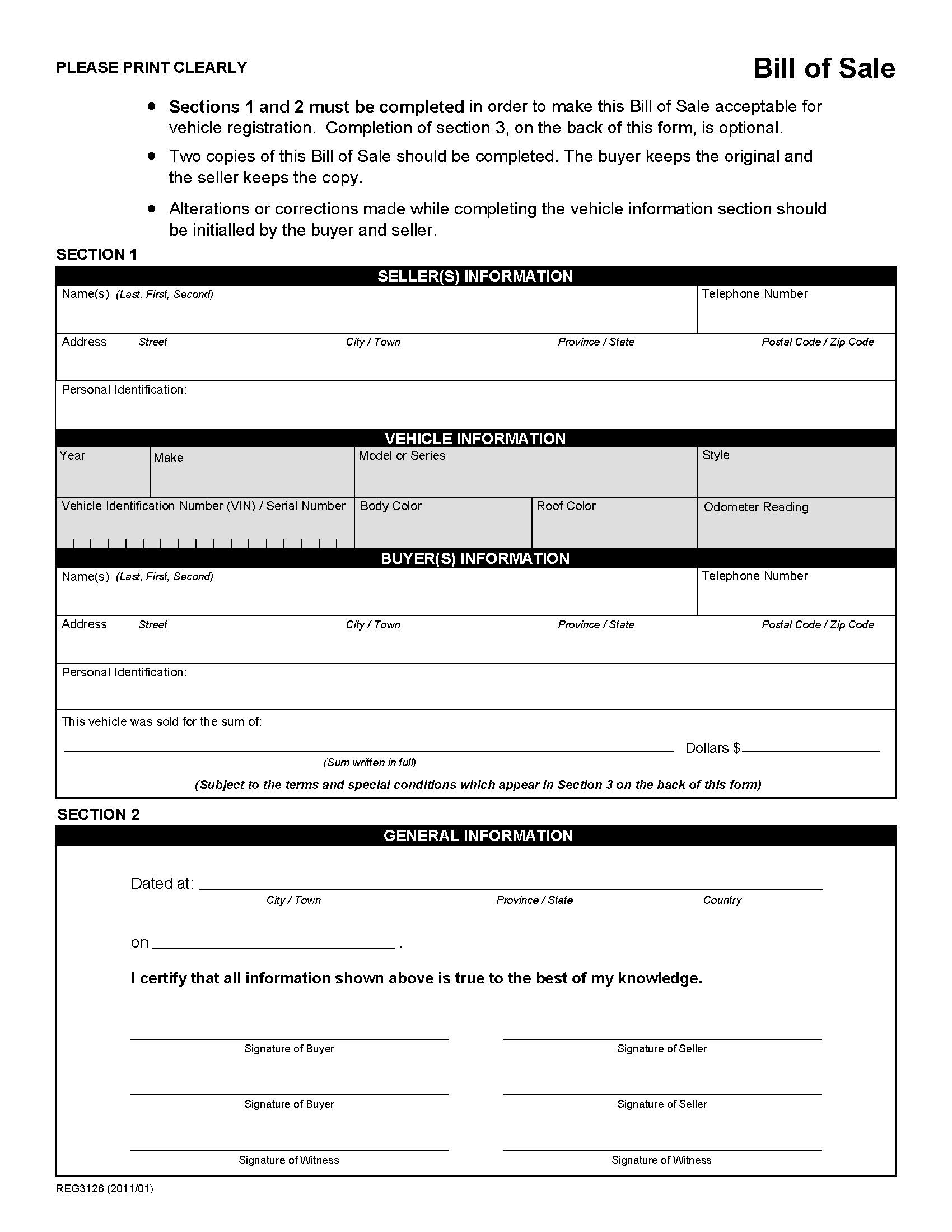 Alberta Bill Of Sale For Vehicle Bill Of Sale Template