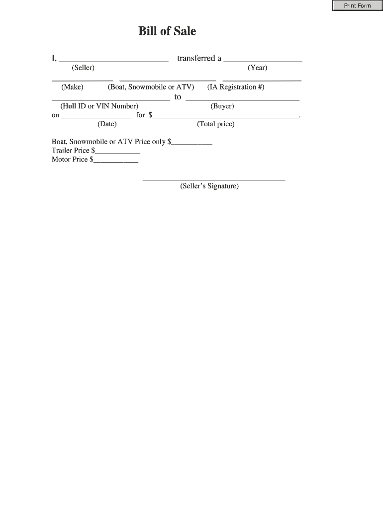 Bill Of Sale Form Fill Out And Sign Printable PDF