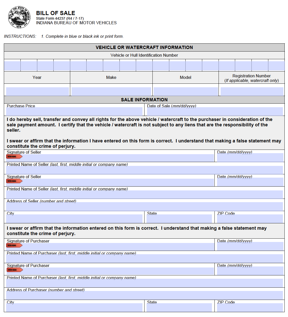 Bill Of Sale Form Indiana Bill Of Sale Form