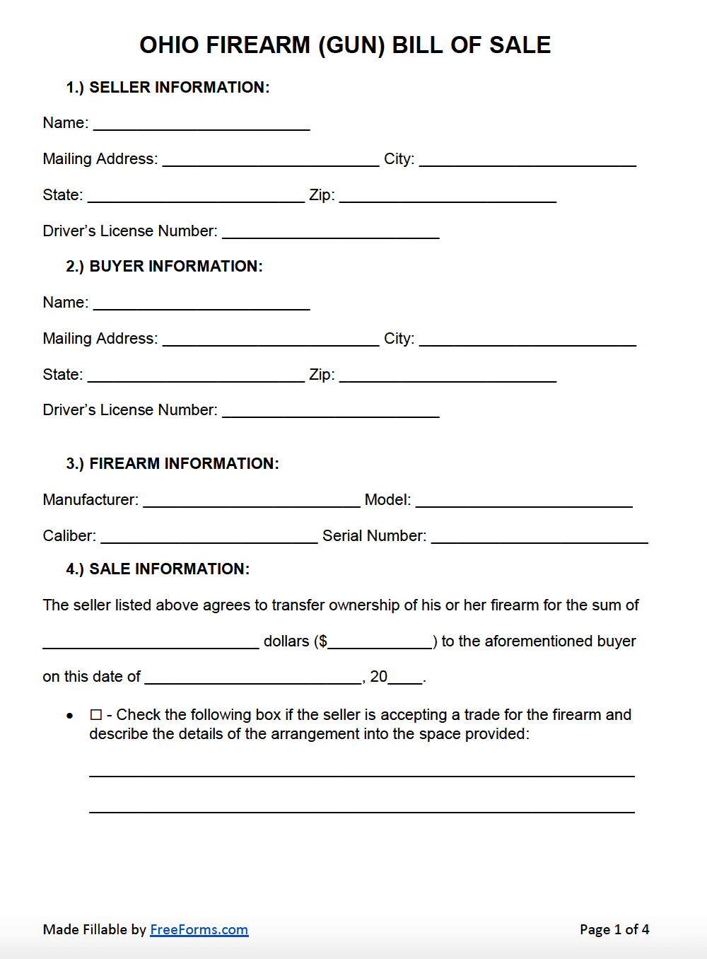 Bill Of Sale Form Ohio Bill Of Sale Form