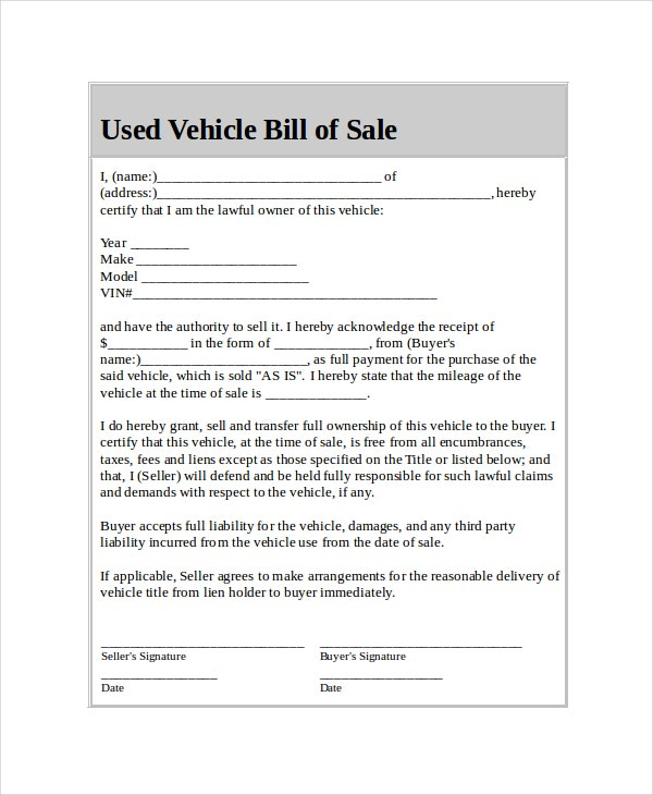 Car Bill Of Sale 5 Free Word PDF Documents Download