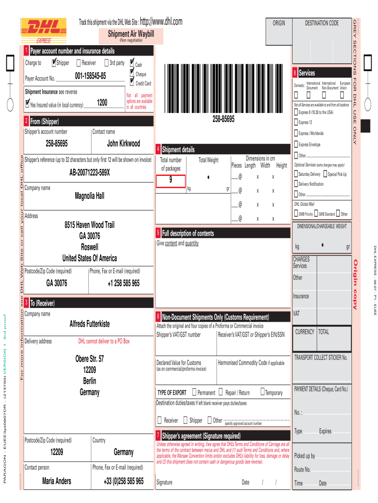 Dhl Waybill Form Fill Online Printable Fillable Blank