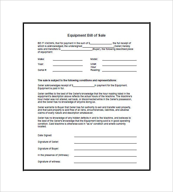 Equipment Bill Of Sale 7 Free Word Excel PDF Format