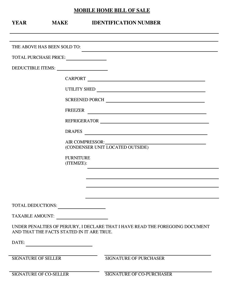 Fill In Bill Of Sale For A House Fill Out And Sign
