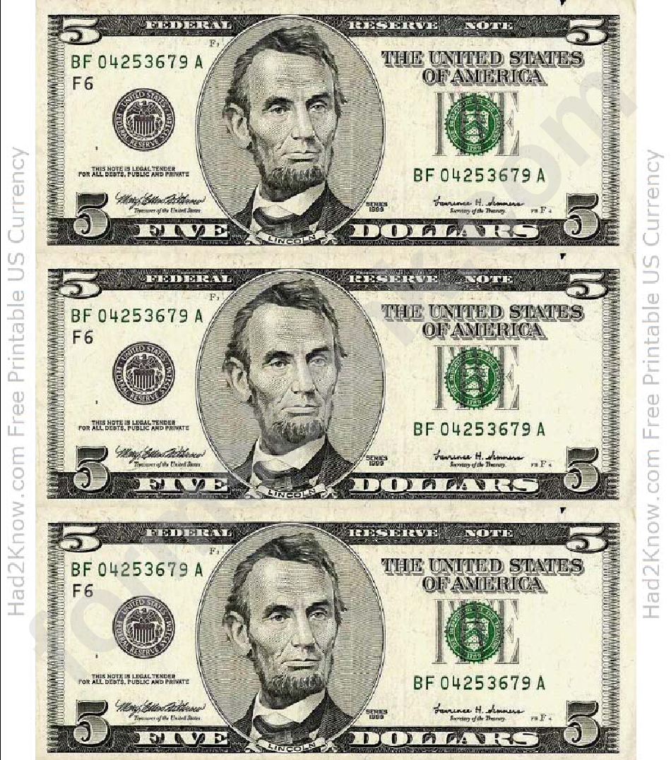 Five Dollar Bill Template Front Printable Pdf Download