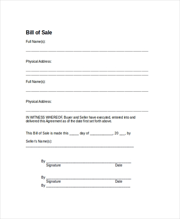 FREE 9 Sample Bill Of Sale Forms In PDF MS Word
