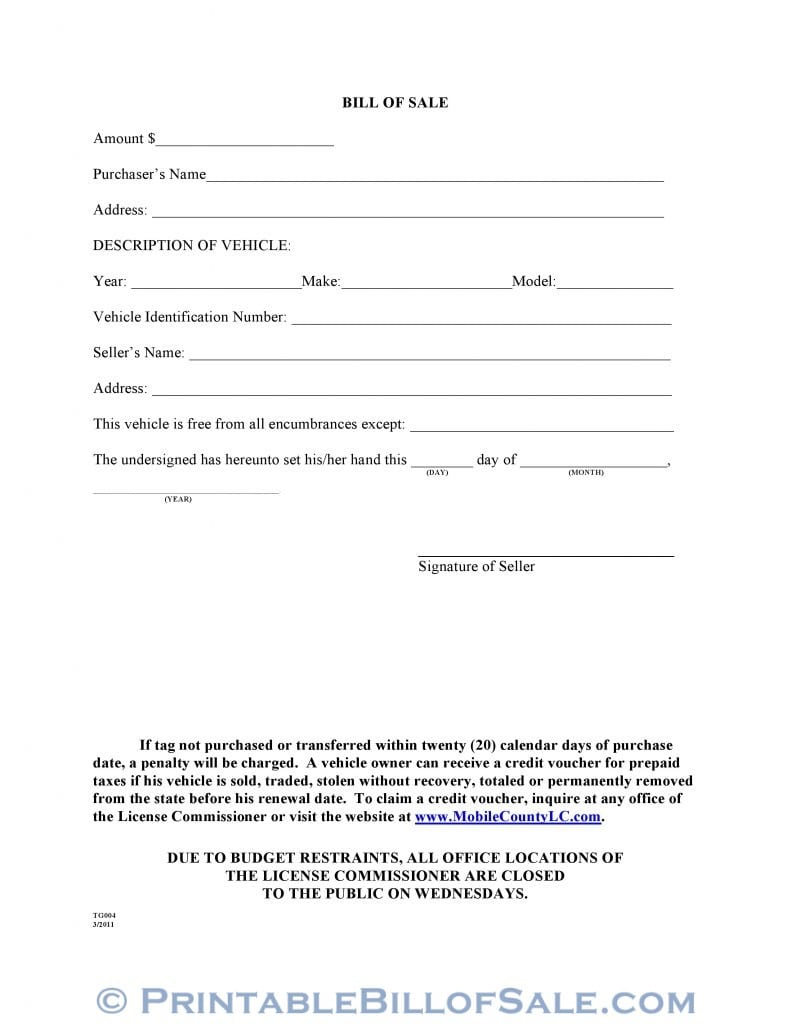 Free Mobile County Alabama Motor Vehicle Bill Of Sale Form